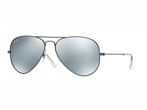 (Ray-Ban RB3025 Aviator Flash Mirrored Sunglasses, Matte Gunmetal/Silver Flash, 55 mm)