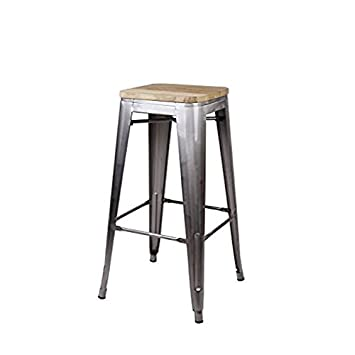 GIA 30-Inch Backless Bar Height Stool with Wooden Seat, Gunmetal Light Wood, 1-Pack