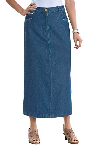 Jessica London Women's Plus Size Classic Cotton Denim Long Skirt - Medium Stonewash, 12