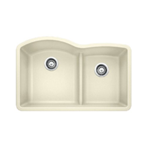 Blanco 441594 Diamond 1.75 Low Divide Under Mount Double Bowl Kitchen Sink, Large, Biscuit ()