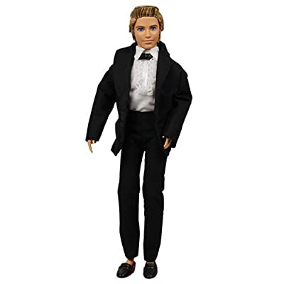 BARWA 3pc Ken Doll Clothes Black Tuxedo Suit with Tie White Shirt, Pants and Jacket for 12 inch Ken Doll: Toys & Games