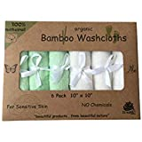 EZ Sunset Organic Bamboo Ultra Soft Washcloths (6-pack) for Sensitive Skin