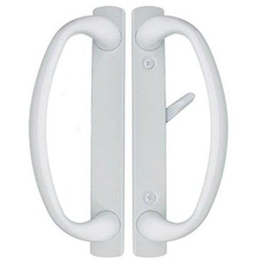 Charlotte Sliding Glass Door Handle in White Finish Fits 3-15/16