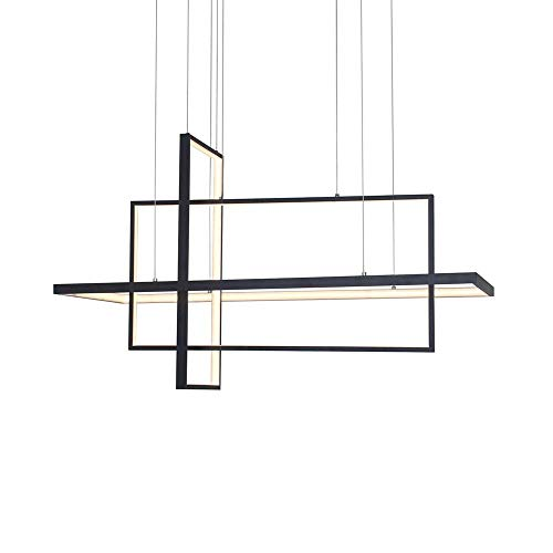 Mengzhu-Michelle LED 3-Ring Rectangular Black Pendant Lamp 50W Dimmable Living Room Dining Room Hanging Lamp Office Dining Table Chandelier Modern Design Metal Acrylic Lamp with Remote L60cm