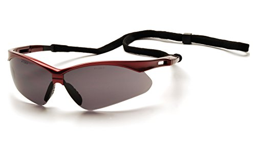 - Pyramex Safety PMXTREME Eyewear, Red Frame with Black Cord, Gray Lens