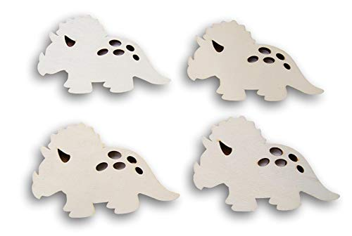 (Natural Unpainted Wood Cutout - Triceratops Shape - Set of 4)