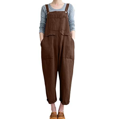 Drindf Women's Loose Linen Wide Leg Jumpsuit Rompers Bib Long Suspender Overalls Harem Pants Plus Size S-5XL Khaki