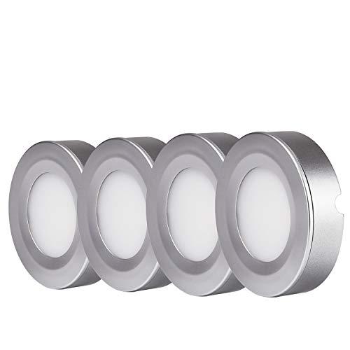 Interior Cabinet Lighting - TORCHSTAR LED Under Cabinet Lighting Kit: 4pcs 2W LED Puck Lights (Recessed & Surface Mount) w/Power Adapter and Accessories for Kitchen, Bookshelf, Showcase, 3000K Warm White, 2 YEARS WARRANTY