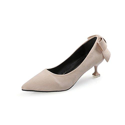 TYAW-Zapatos de Mujer Zapatos de Tacón Bajo Señaló Felpa Color Sólido Boca Superficial Apricot color