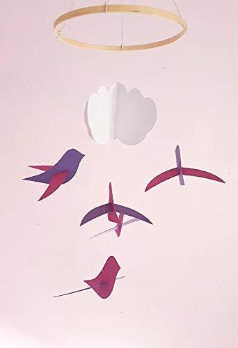 Móvil de bebé,5 Aves y una nube,Círculo, la madera,la Decoración, el pájaro,el nacimiento de los Dones,de Estilo escandinavo,Móviles para la cuna