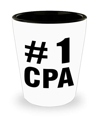 Number 1 CPA Shotglass Gifts for Certified Public Accountant Shot Glass Accountancy Exam Passer Chartered Day Accounting Office Congratulations Gift Idea Novelty Funny Cute Gag
