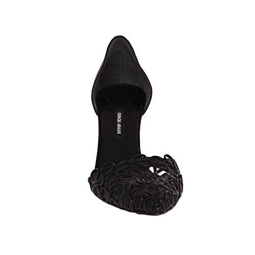 Giorgio Armani Women 11/41 Black Pointed Toe Satin & Leather Mid Heel Shoes