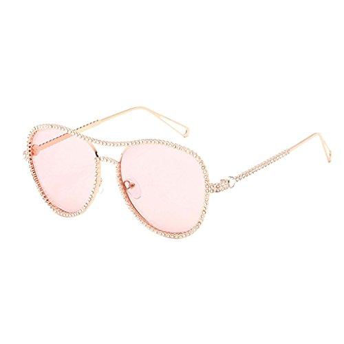 libre lente anteojos al redonda Protección Y PC Women aire Montura Decor Sol Republe Rhinestone Dorada de llanura UV400 de Eyewear Rosa Lentes Girl gafas de sol forma gafas U6wZqz