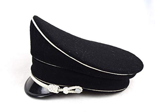 szwykw WW2 German Woolen Officer Visor Hat W White Pipe Silver Chin Cord (58cm)
