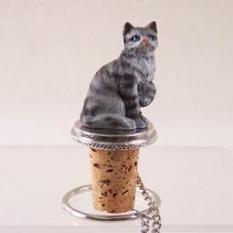 Shorthair Silver Tabby Cat Wine Bottle Stopper - CTB01 by Conversation Concepts ()