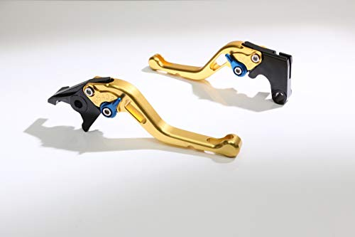 Autobahn88 Motorcycle Clutch + Brake Lever Set for Suzuki : Hayabusa GSXR 1300 (2008-2016) (Short Style : Gold+Blue/Handle+Adjuster) ()