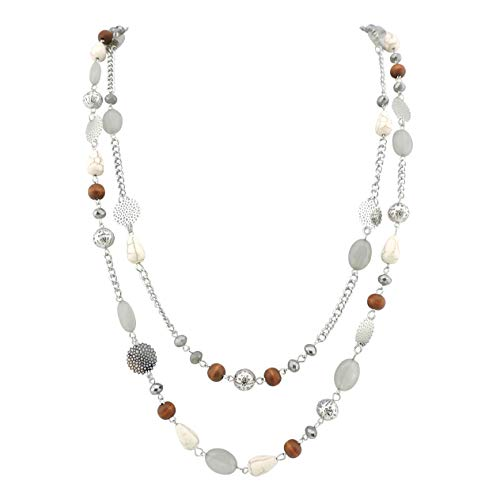 (Bocar 14K Gold Plated Link Chain 2 Layer Crystal Wood Acrylic Colorful Women Party Long Necklace Gift (10084-grey))