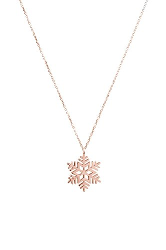 - Gold Snowflake Necklace, Wintertime Pendant, 9K, 14K, 18K Gold Necklace, Rose Gold Snowflake Charm, Unique Gift For Her /code: 0.003