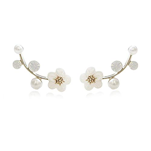Ear Crawler Earrings Climbers Pearl Flower Ear Cuff Pin Vine Wrap Stud Crystal Rhinestone Clip On Jewelry Silver - Plated Crystal Flower
