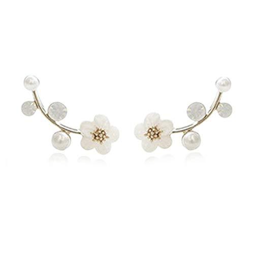 (Ear Crawler Earrings Climbers Pearl Flower Ear Cuff Pin Vine Wrap Stud Crystal Rhinestone Clip On Jewelry Silver Plated)
