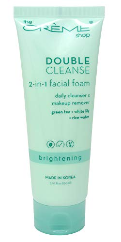 The Crème Shop Korean Beauty Skincare Daily Makeup Remover-all skin type(Oily, Dry & Sensitive Skin), Brightens, Relief Acne Scars and Redness Treatment-Double Cleanse 2 in 1 Facial Cleanser Green Tea