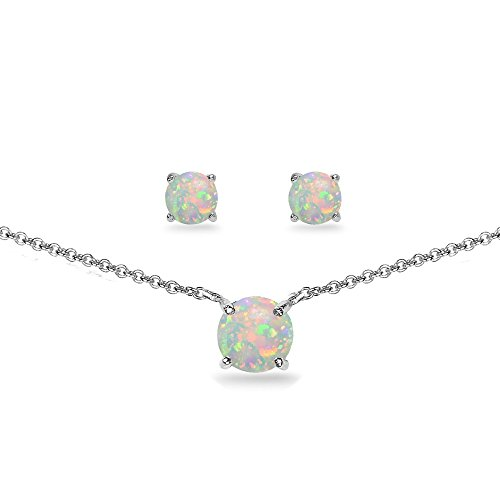 Gemstone Set Choker (GemStar USA Sterling Silver Simulated White Opal Round Solitaire Choker Necklace and Stud Earrings Set)