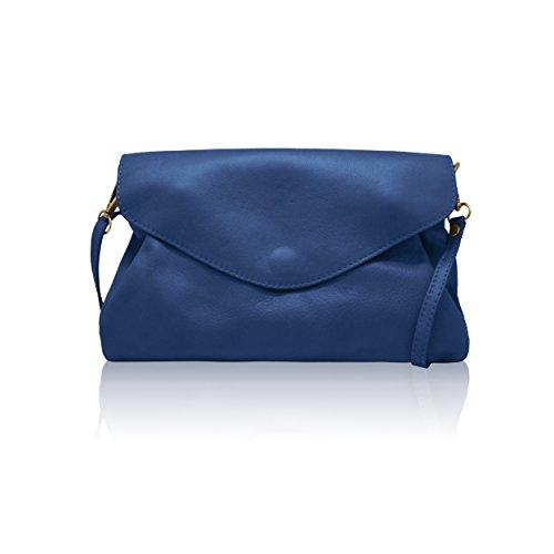 Azul Con Bandolera Melany Ajustable Cremallera Liso La Cuero Italiana B myitalianbag Solapa Clutch Correa Bolsa Suave Baguette Compartimentos Dos xYUH0pPpqw