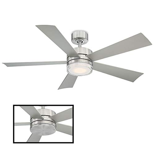 Wynd Indoor/Outdoor 5-Blade Smart Ceiling Fan 52in Stainless Steel with 3000K LED Light Kit and Wall Control works with iOS/Android, Alexa, Google Assistant, Samsung SmartThings, and Ecobee (Marine Grade Stainless Steel Outdoor Ceiling Fans)