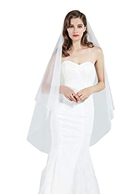 Bridal Wedding Veil 2 Tier For Women Cut Edge Knee Length With Comb Ivory White