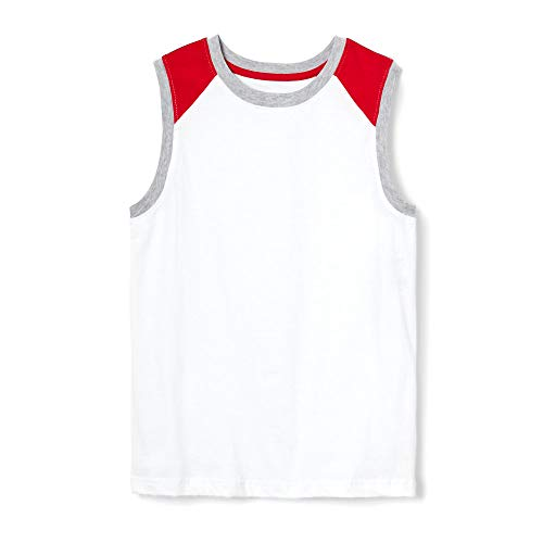 French Toast Boys' Big Sleeveless Muscle Tee, Colorblocked White, M -