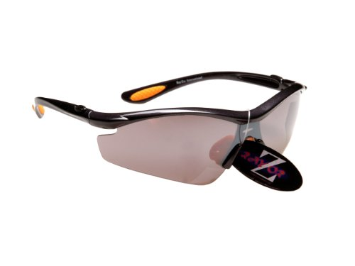 612 RayZor Uv400 Black Sports Wrap Sunglasses Red Iridium Mirrored Lens