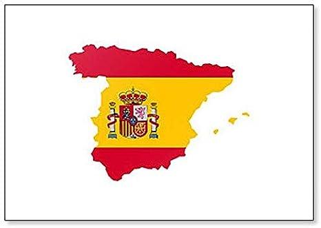 Mapa de España con bandera de España Ilustración Classic imán para nevera: Amazon.es: Hogar