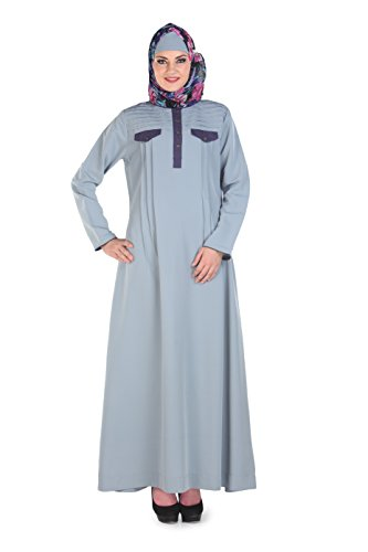 Momin Libas Pleated Yoke Grey Color Abaya & Burkha