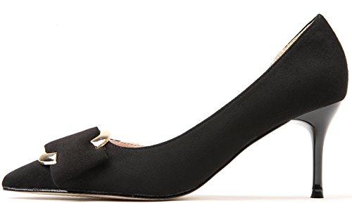 Alti Fibbia Tacco Tacchi Donna Con Di Nero Scarpe Sandali Punta Vestito Metallo Dei Stiletto D'orsay Bigtree Elegante ZwXvXx5Eq