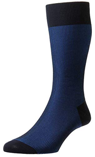 Pantherella Mens Santos Shadow Rib Cotton Lisle Socks - Navy/Sapphire Blue - ()