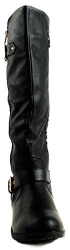 Pour Toujours Femmes Mango-21 Matelassé Modèle Bottes De Veau Avec Boucle Et Fermeture À Glissière Décoration Noir