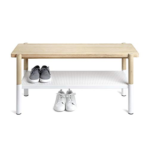 (Umbra Promenade Bench, Made with Ashwood and Perforated Steel, White/Natural)