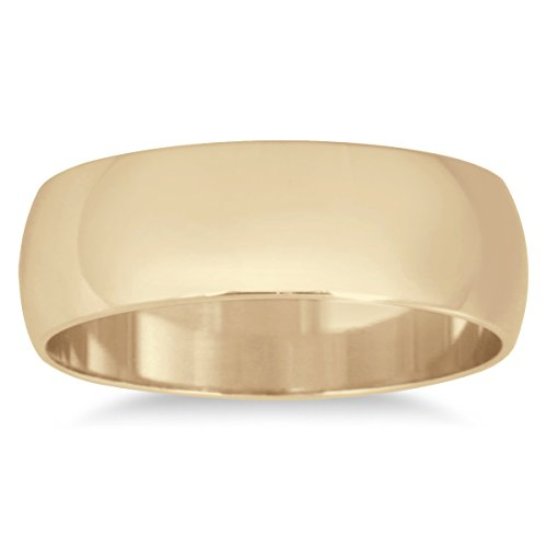 6mm Domed Wedding Band in 10K Yellow Gold (Szul Engagement Rings Men Band)