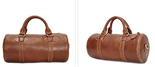 uomo cilindrica tracolla Borsetta borsa SHOUTIBAO grassa resistente da in all'usura borsa da e borsa brown da pelle brown light light esterno maestro scura CIxYIwtq
