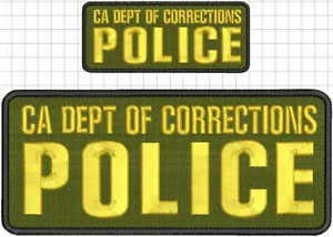 (CA DEPT of Corrections Police Embroidery Patch 4X10 and 2X5 Hook OD Green Gold by HighQ Store)