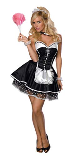 Secret Wishes  Sexy Maid Costume, Black, Medium