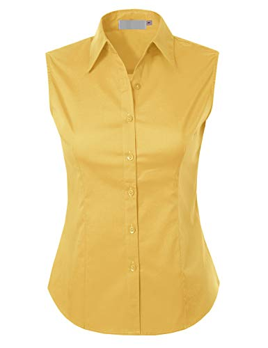 (MAYSIX APPAREL Sleeveless Stretchy Button Down Collar Office Formal Shirt Blouse for Women Yellow S)