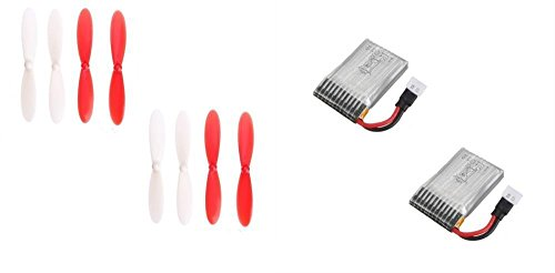 Rotor Main Blades Pack (Holy Stone HS170 Predator [QTY: 2] 3.7v 240mAh Lipo Battery Rechargeable Power Pack [QTY: 2] 55mm Propeller Blades Props Rotor Set Main Red and White)