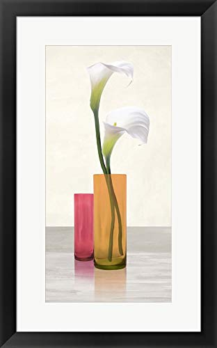 Callas in Crystal vases II by Cynthia Ann Framed Art Print Wall Picture, Black Frame, 17 x 27 inches ()