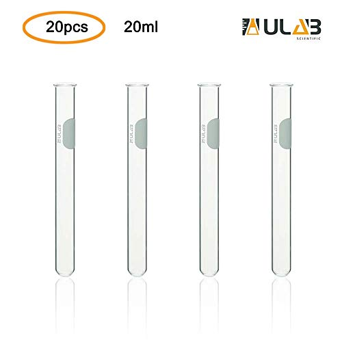 ULAB Scientific Glass Test Tube with Rim, Shot Glass, Cocktail Party Tubes, Cap.20ml, 16x150mm, 3.3 Borosilicate Glass Material, Pack of 20, UTT1008 -