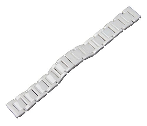 RECHERE Ceramic Solid Links Watch Band Strap Bracelet Deployment Invisible Double Folding Clasp Color White (16mm)