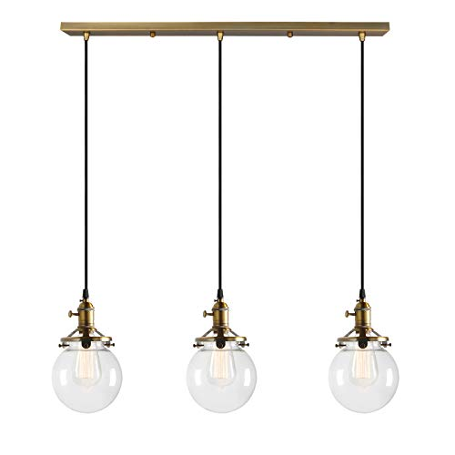 Permo Vintage Rustic Industrial 3-Lights Kitchen Island Chandelier Triple 3 Heads Pendant Hanging Ceiling Lighting Fixture with Mini 5.9
