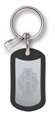 Harley Davidson Motorcycle Stamped Holder Bar and Shield Dog Tag Hd Rubber Key Chain