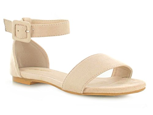 Flatform Women's for Summer Detailing Casual Strap Super Beige Suede Deals Faux Holiday a Footwear Comfy Buckle On Good Evening Look Ankle Slip Online Double Sandals Daytime nqzZfnURw