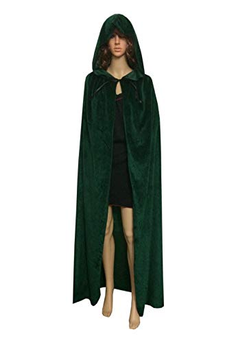 ECITY Unisex Adult Women/Man Hooded Cloak Role Play Costume Cosplay Christmas Cape (Medium (51.2 inch=130cm), Green) for $<!--$20.98-->